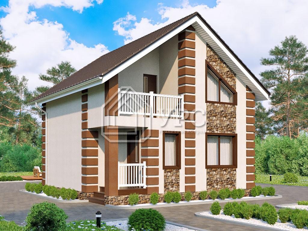 Дом из керамзитобетона К-022 два этажа 98 м2