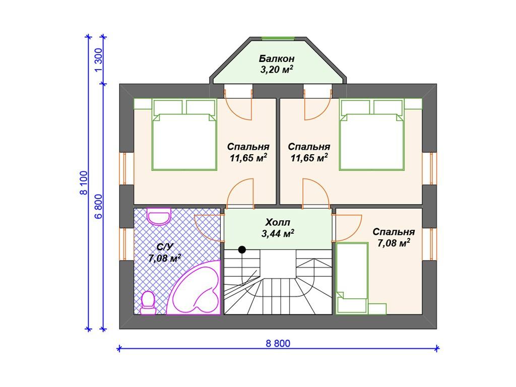 Дом из газоблока К-266 два этажа 112 м2