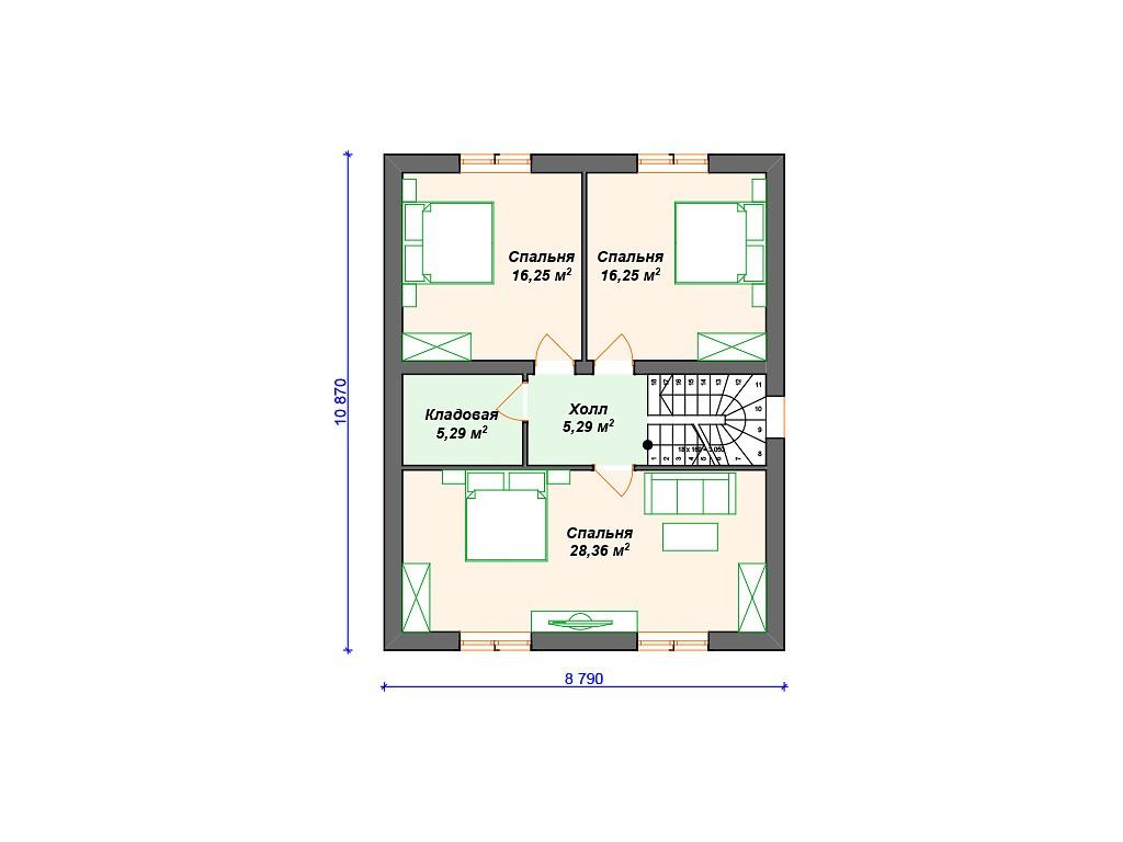 Дом из керамзитобетона К-261 два этажа 170 м2