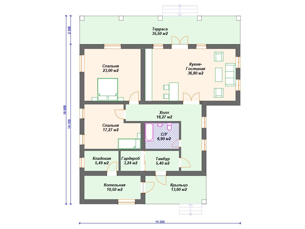 Дом из газоблока К-228 один этаж 176 м2