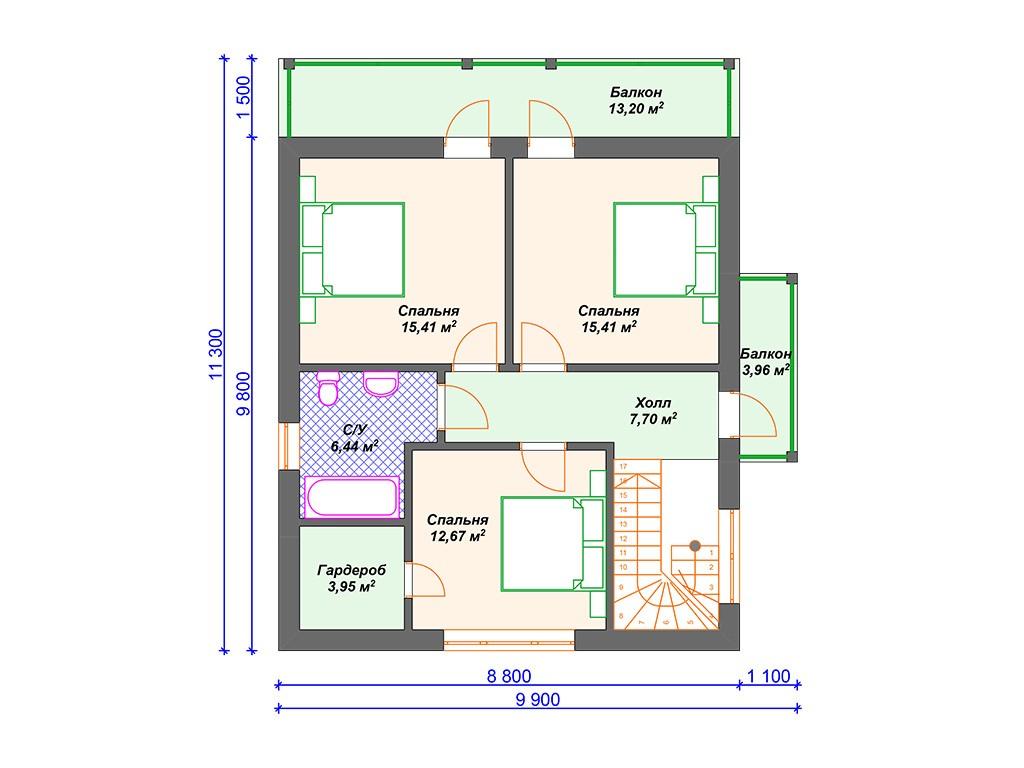 Дом из керамзитобетона К-218 два этажа 184 м2