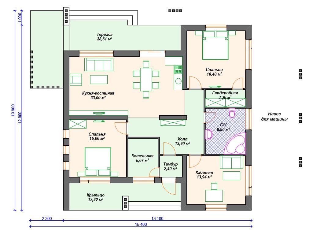 Дом из керамзитобетона К-190 один этаж 154 м2