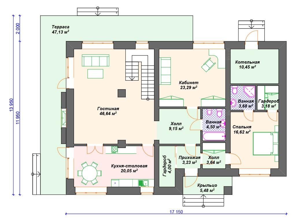 Дом из керамзитобетона К-181 два этажа 350 м2