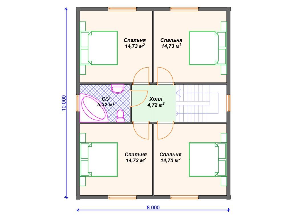 Дом из бруса ДС-069 два этажа 164 м2