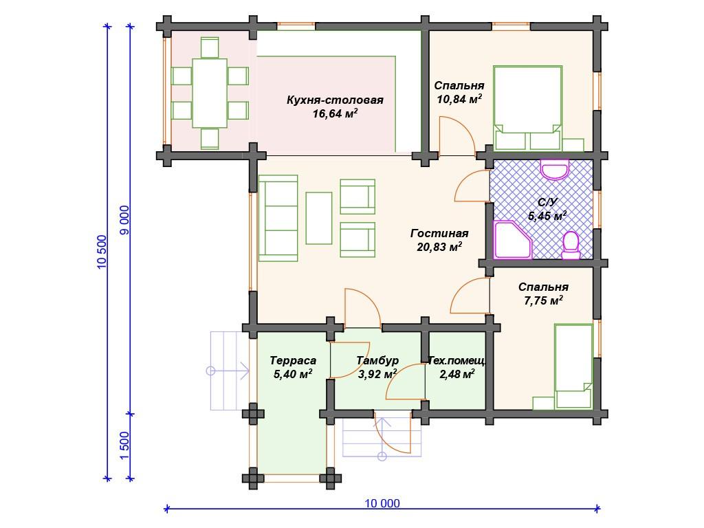Дом из бруса ДС-052 один этаж 73 м2