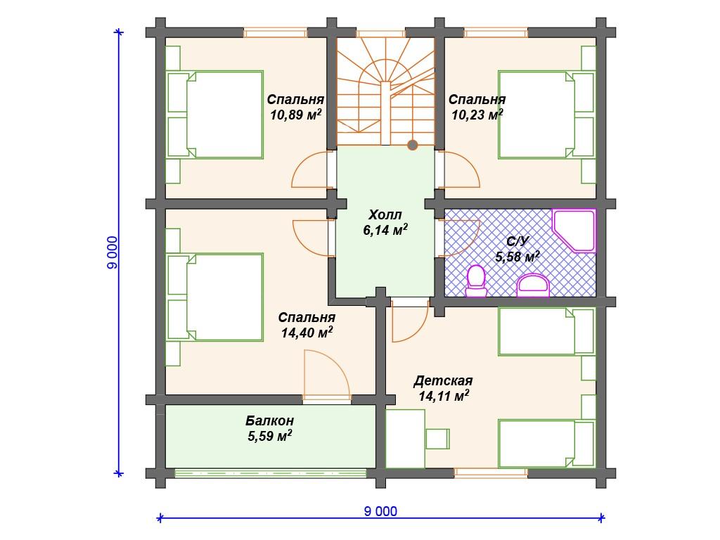 Дом из бруса ДС-137 два этажа 141 м2