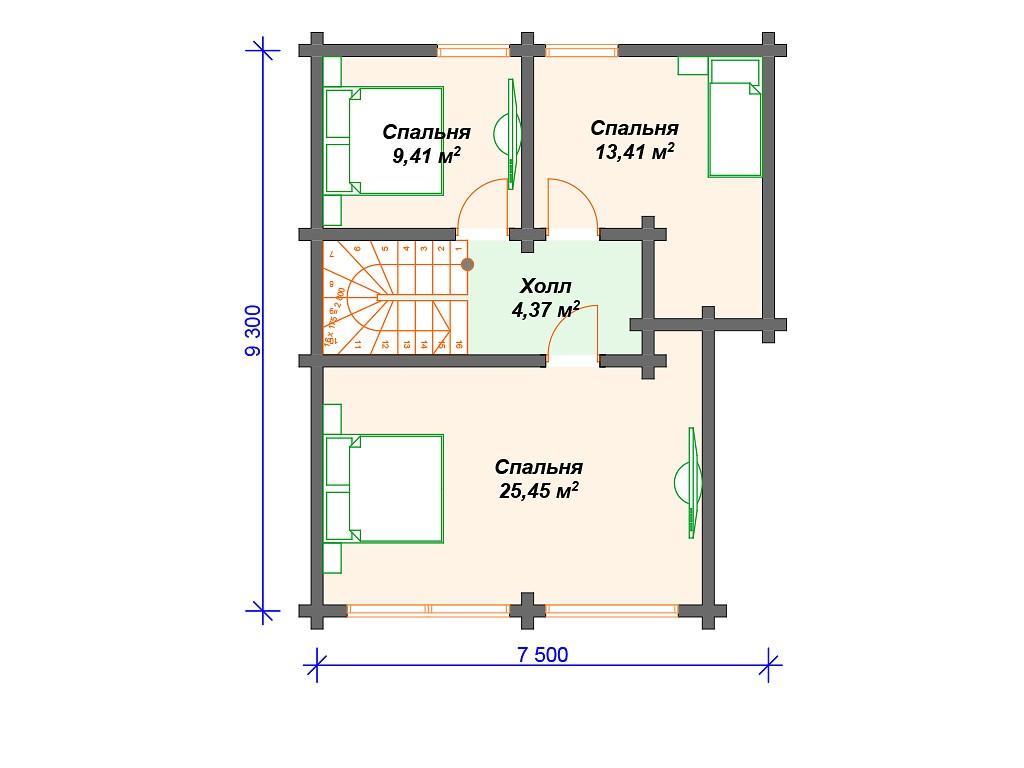 Дом из бруса ДС-131 два этажа 150 м2