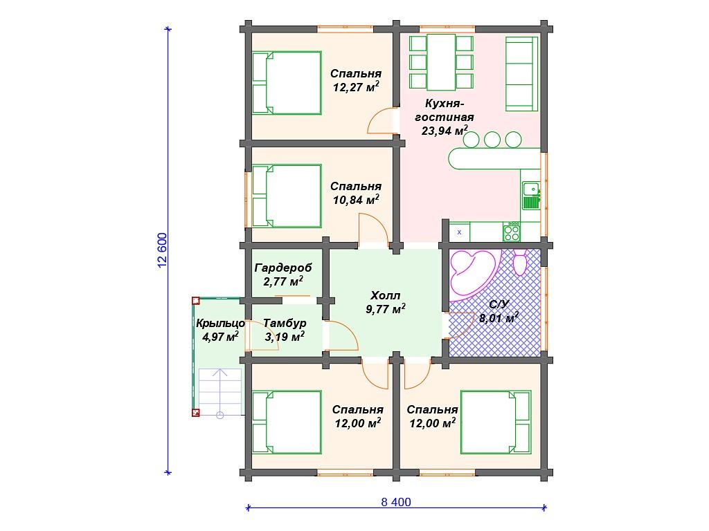 Дом из бруса ДС-127 один этаж 100 м2
