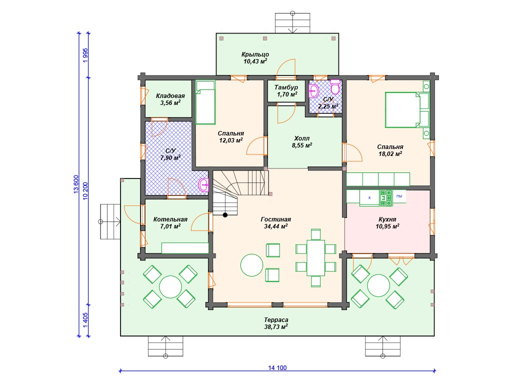 Дом из бруса ДС-121 два этажа 183 м2