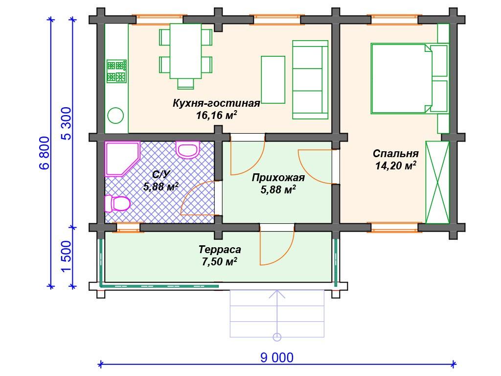 Дом из бруса ДС-107 один этаж 50 м2