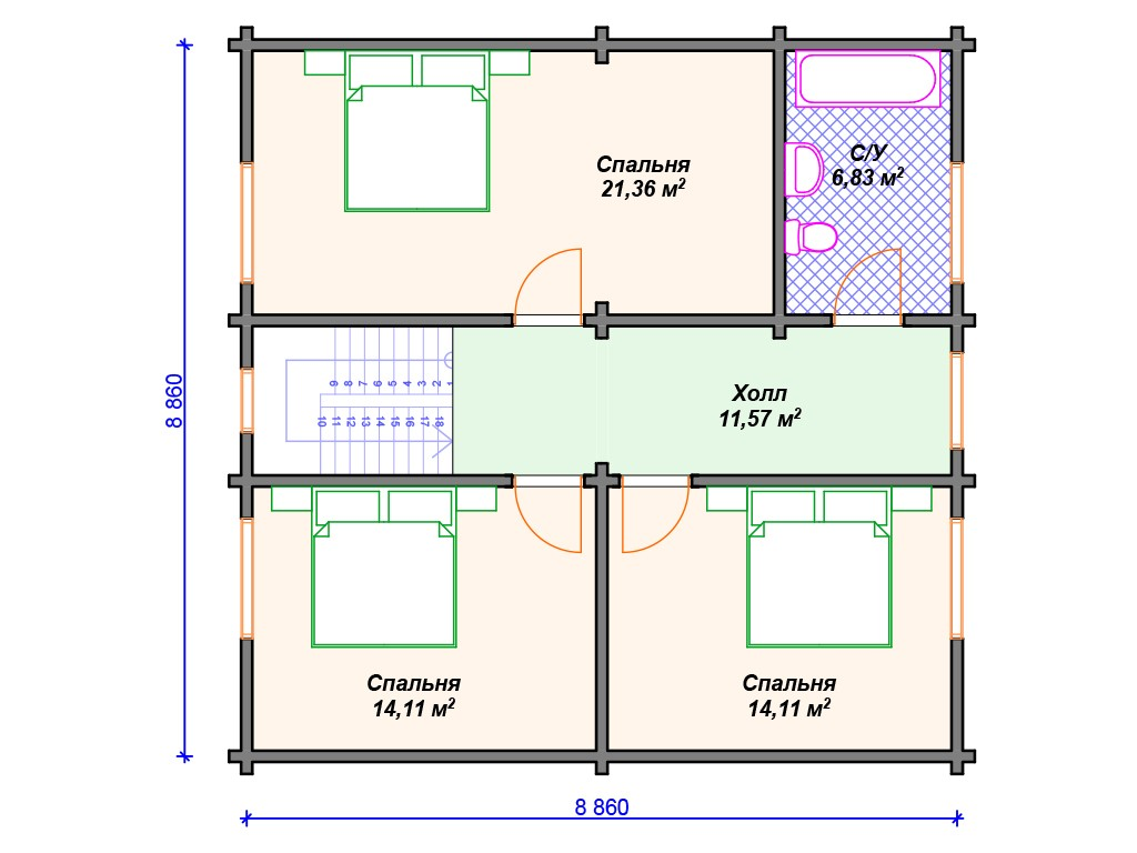 Дом из бруса ДС-103 два этажа 140 м2