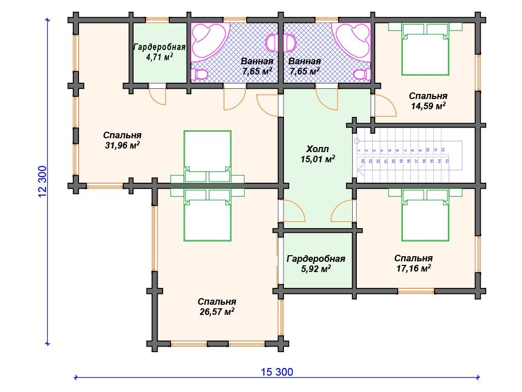 Дом из бруса ДС-088 два этажа 320м2