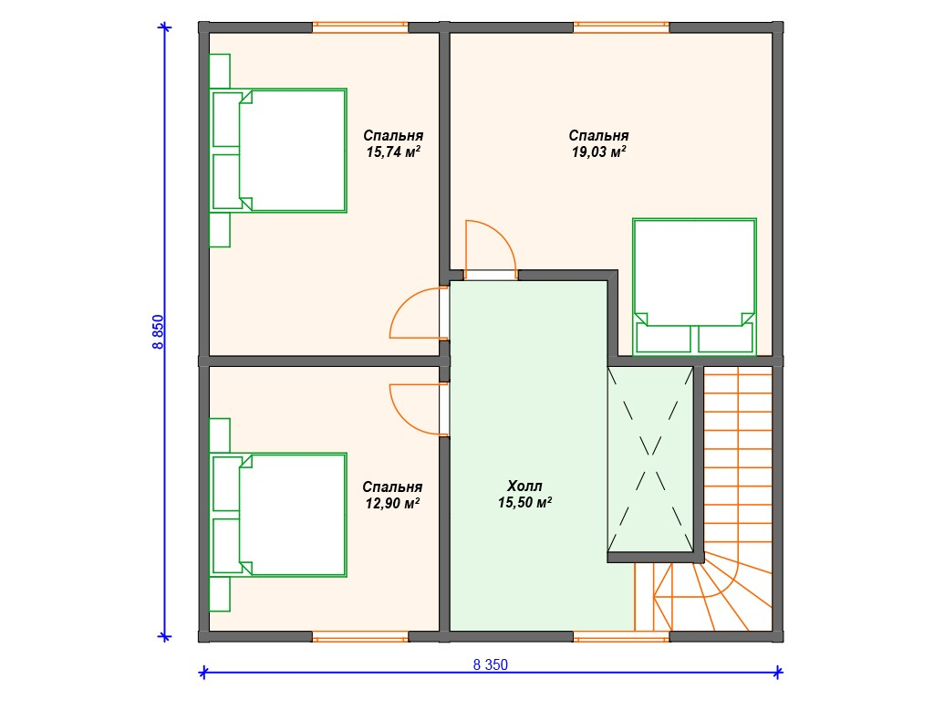 Дом из бруса ДС-079 два этажа 136м2