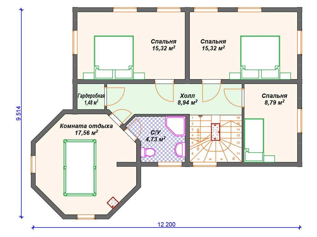 Дом из бруса ДС-074 два этажа 191 м2