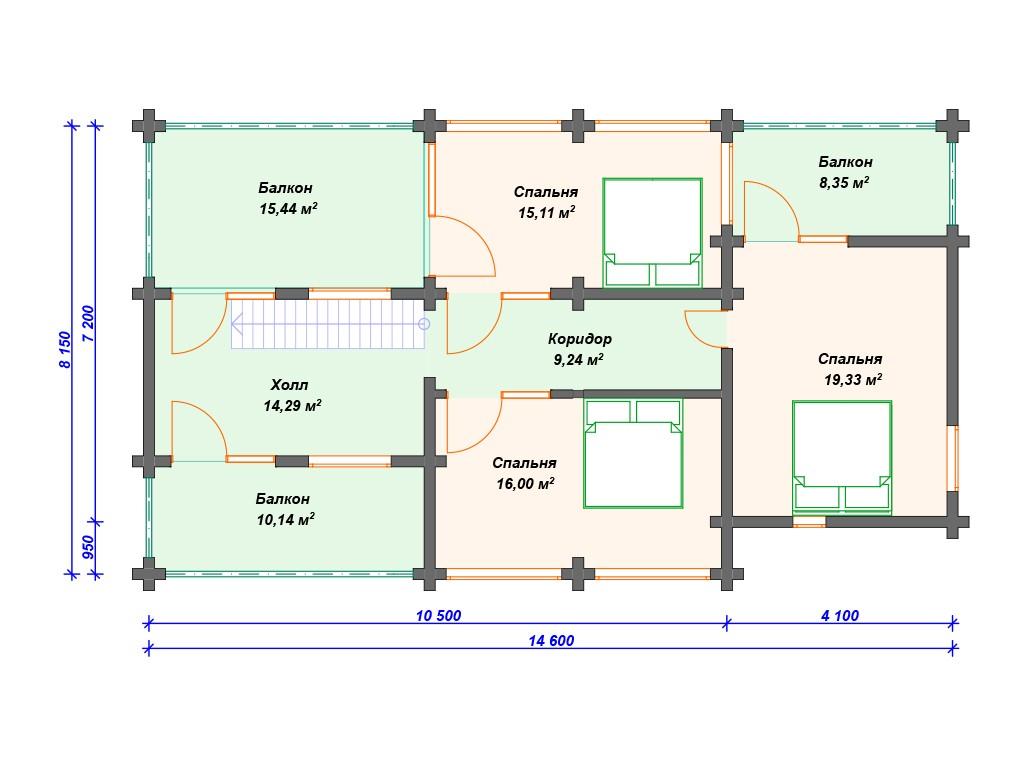 Дом из бруса ДС-031 два этажа 214 м2