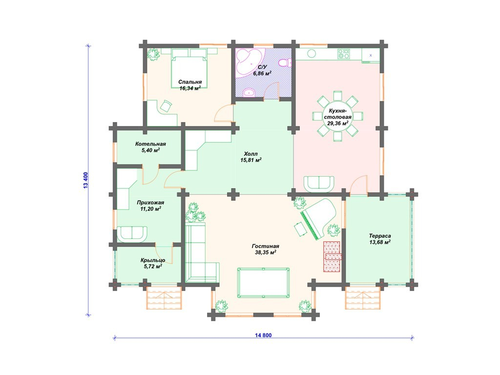 Дом из бруса ДС-012 два этажа 216 м2