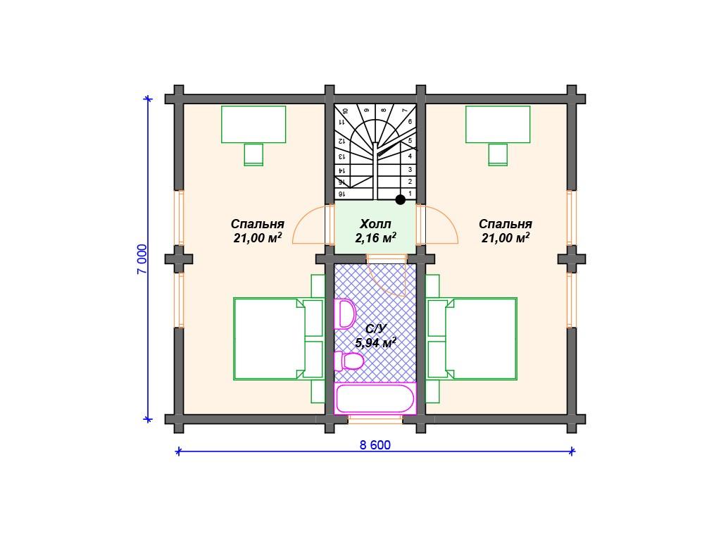 Дом из бруса ДС-117 два этажа 131 м2