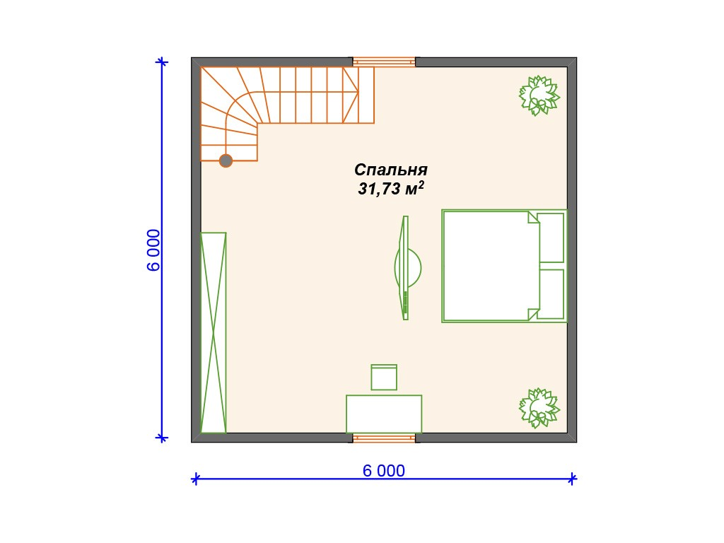 Каркасный дом И-084 два этажа 64м2