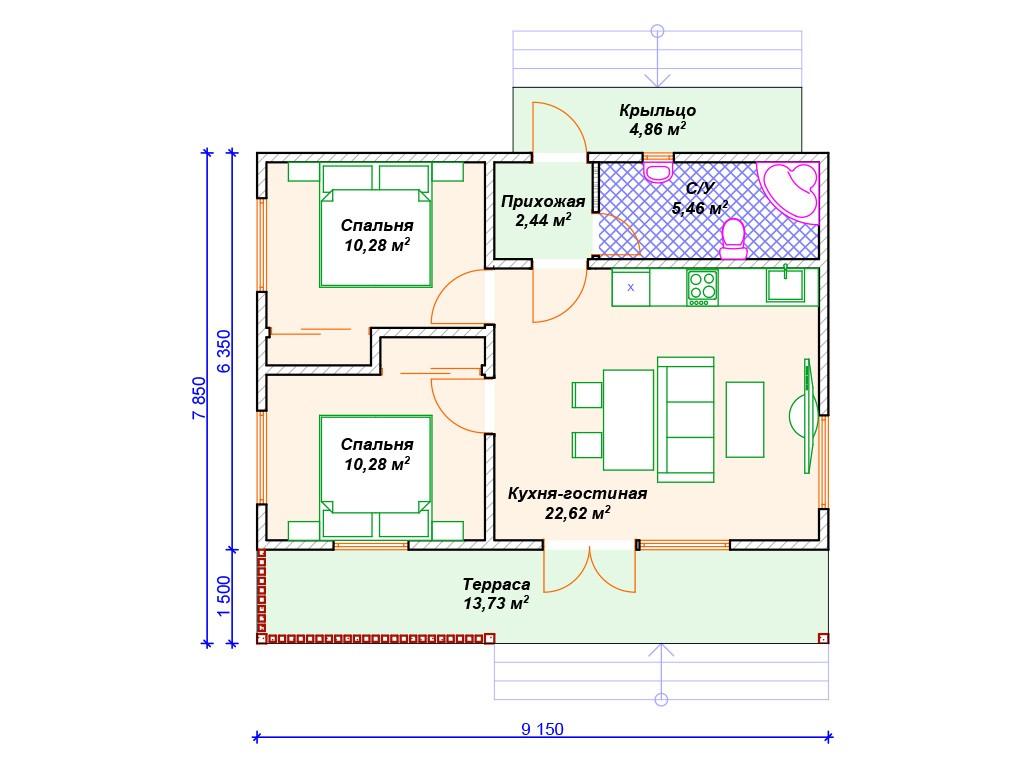 Каркасный дом И-075 один этаж 70м2
