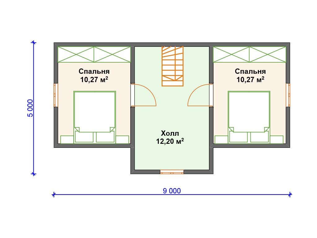 Каркасный дом И-065 два этажа 83 м2