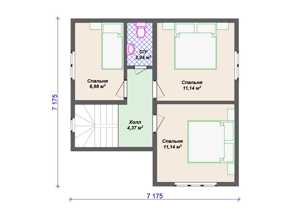 Каркасный дом И-052 два этажа 80 м2