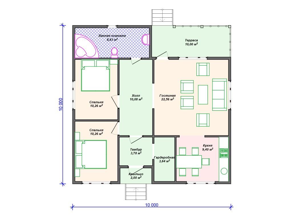 Каркасный дом И-051 один этаж 91 м2