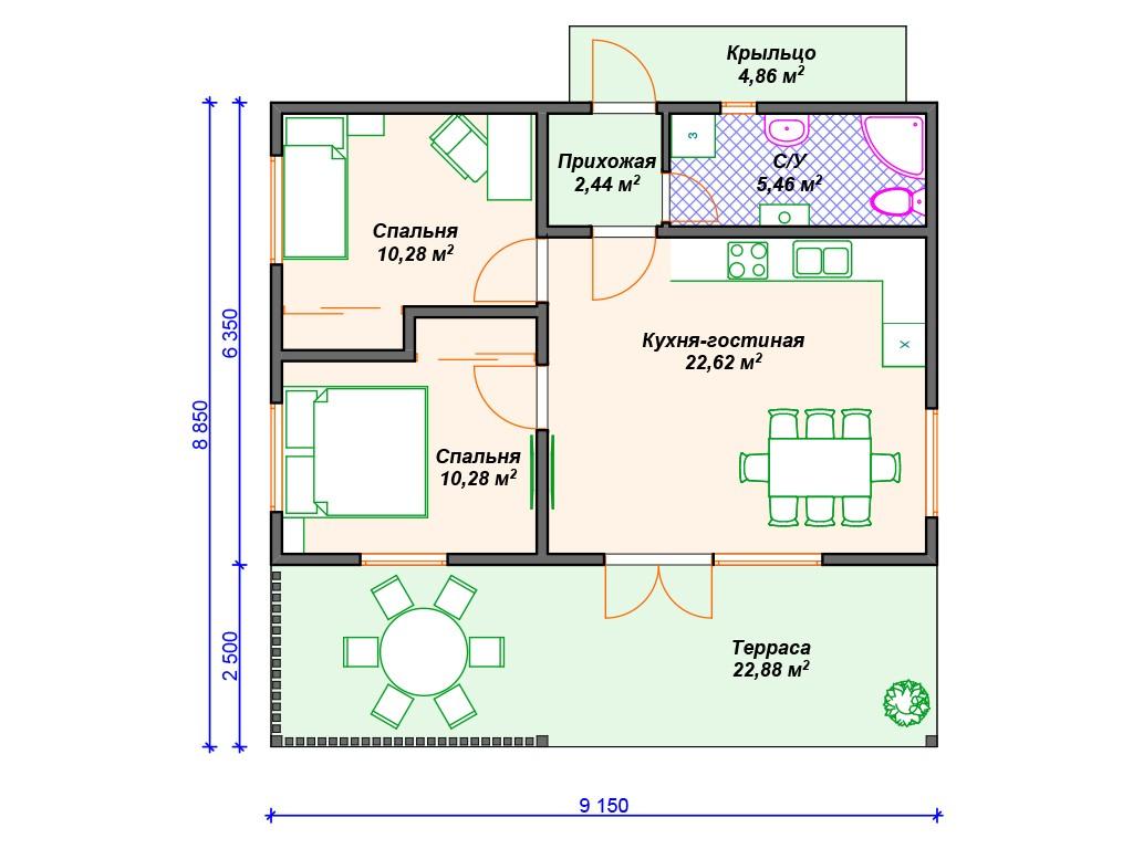 Каркасный дом И-030 один этаж 79 м2