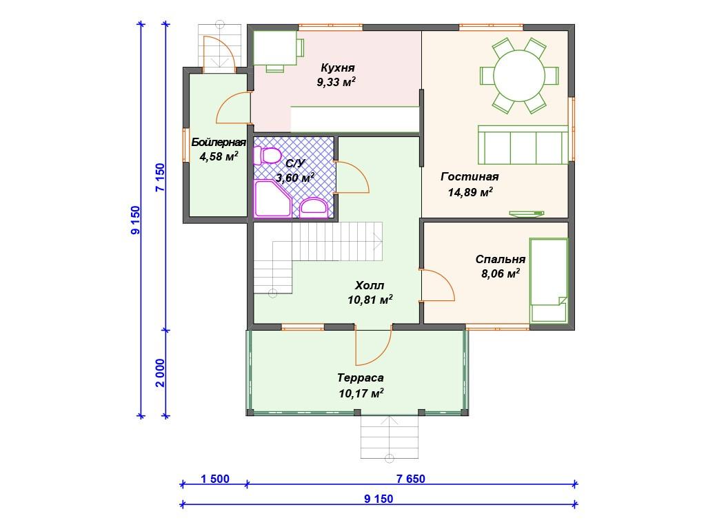 Каркасный дом И-024 два этажа 107 м2