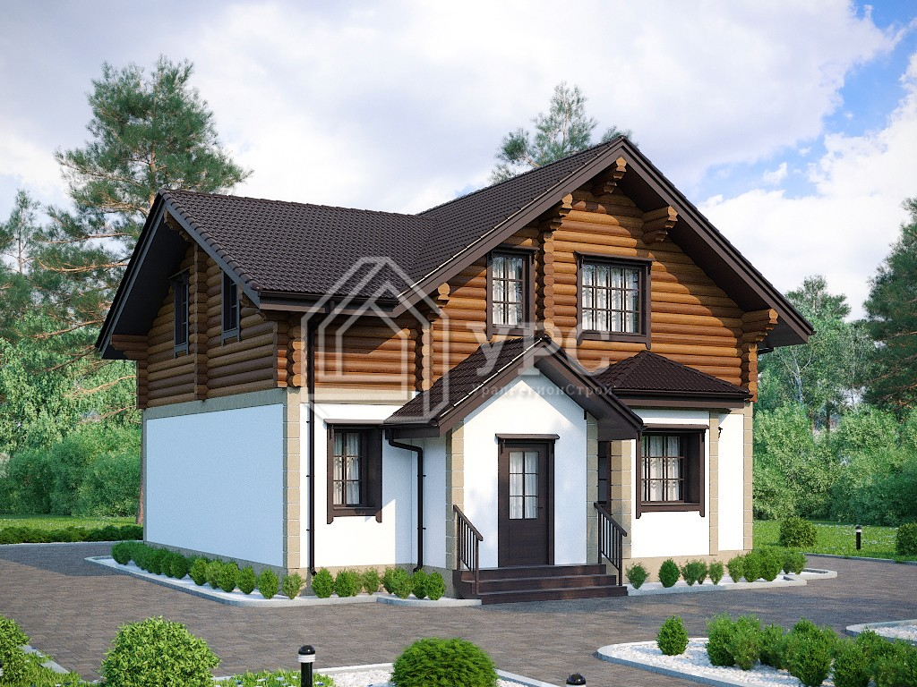 Комбинированный дом А-022 два этажа 142 м2