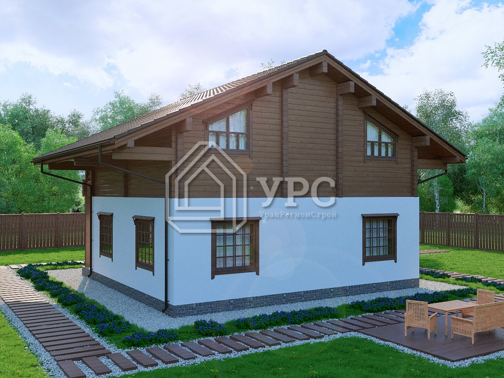 Комбинированный дом А-016 два этажа 154 м2