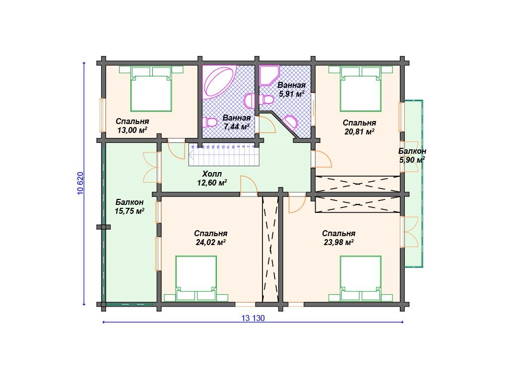 Комбинированный дом А-017 два этажа 265 м2