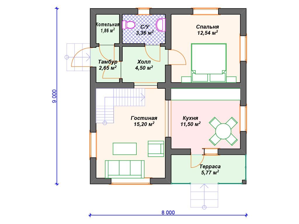 Дом из керамзитобетона А-006 два этажа 116 м2