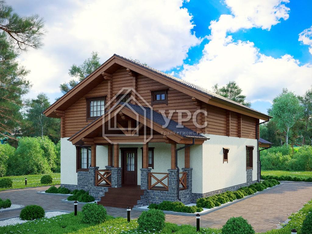 Комбинированный дом А-032 два этажа 213 м2