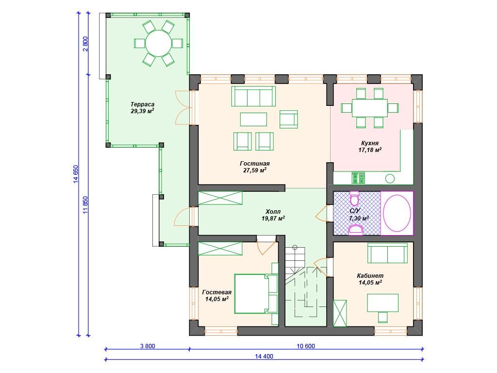 Дом из керамзитобетона А-024 два этажа 235 м2