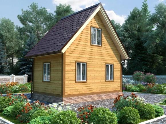 Дом из бруса 6х4 с мансардой 48 м2