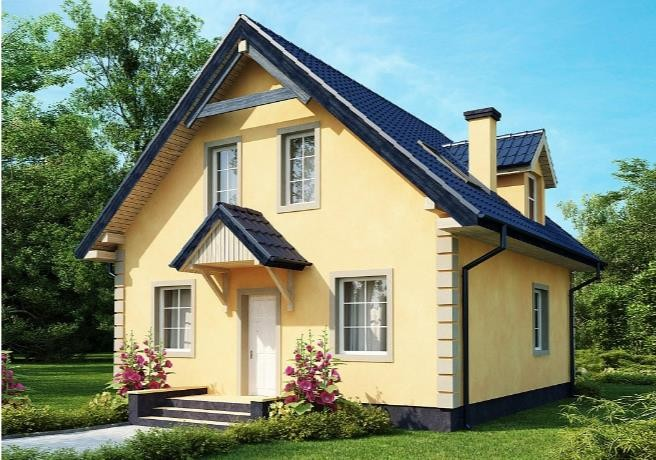 Дом из пеноблока 8х8 с мансардой 128м2