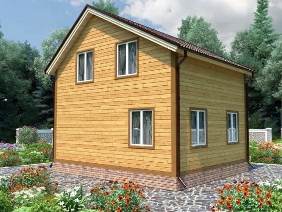 Дом из бруса 6х7 с мансардой 84м2