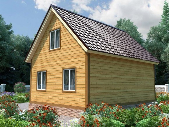 Дом из бруса 6х8 с мансардой 96м2