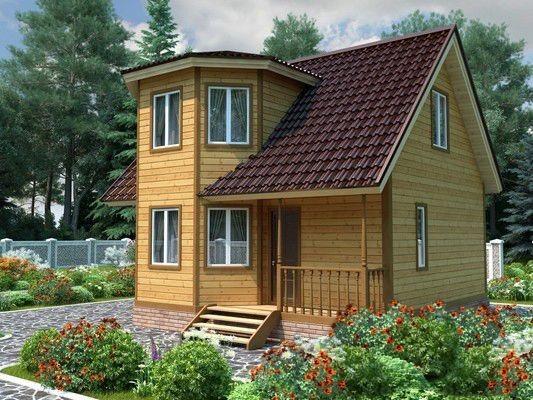 Дом из бруса 7х7 с мансардой 98м2