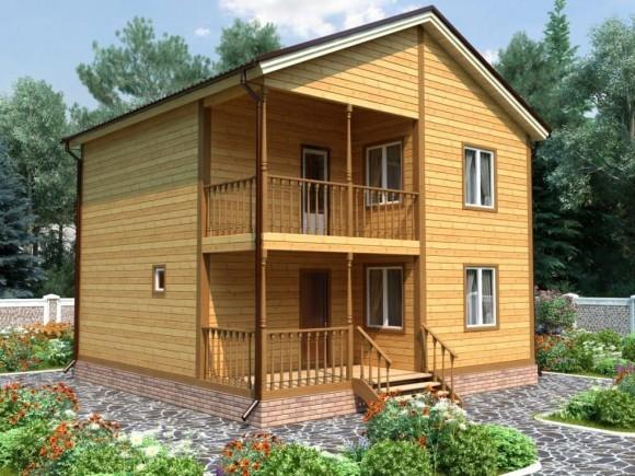 Дом из бруса 8х8 с мансардой 128м2