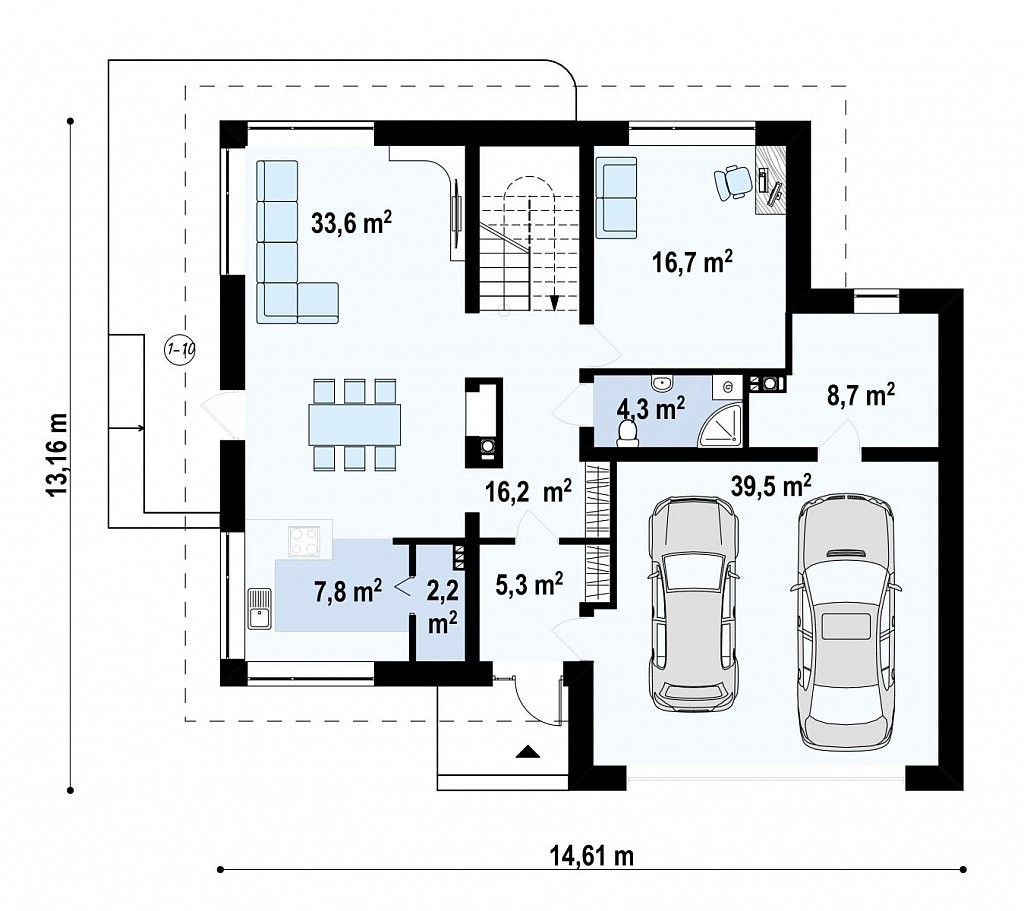 Дом из пеноблока 13х14 с мансардой 364м2